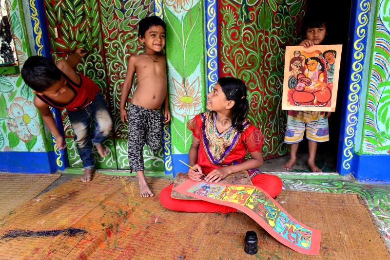 Het Schilderen van Bengalen Patachitra stock fotografie