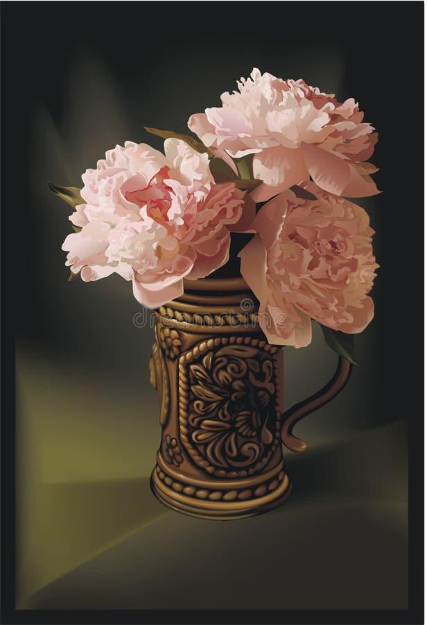 Het Schilderen van bloemen royalty-vrije stock afbeelding