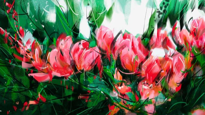 Het schilderen van Boeket van roze bougainvillea royalty-vrije illustratie