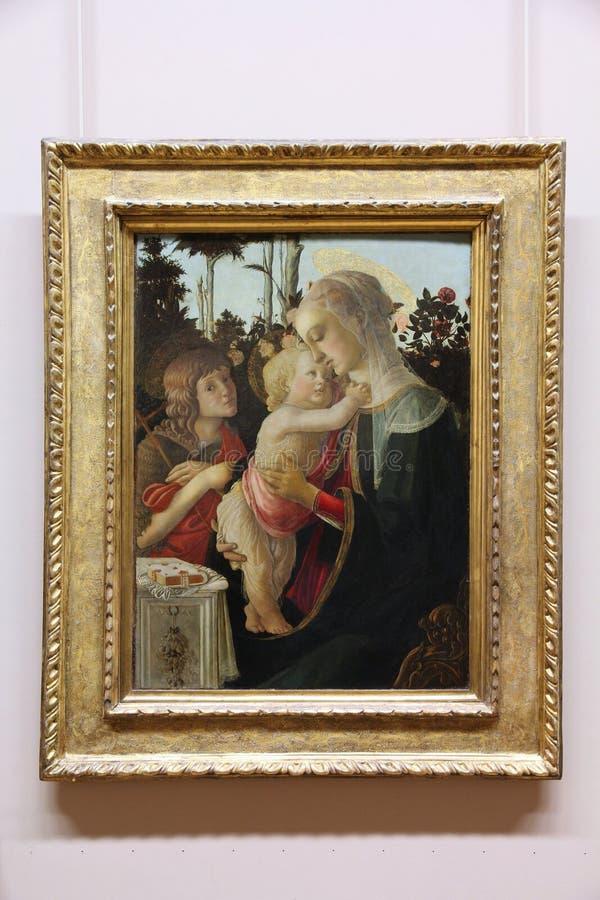 Het schilderen van Botticelli in Louvre stock afbeeldingen