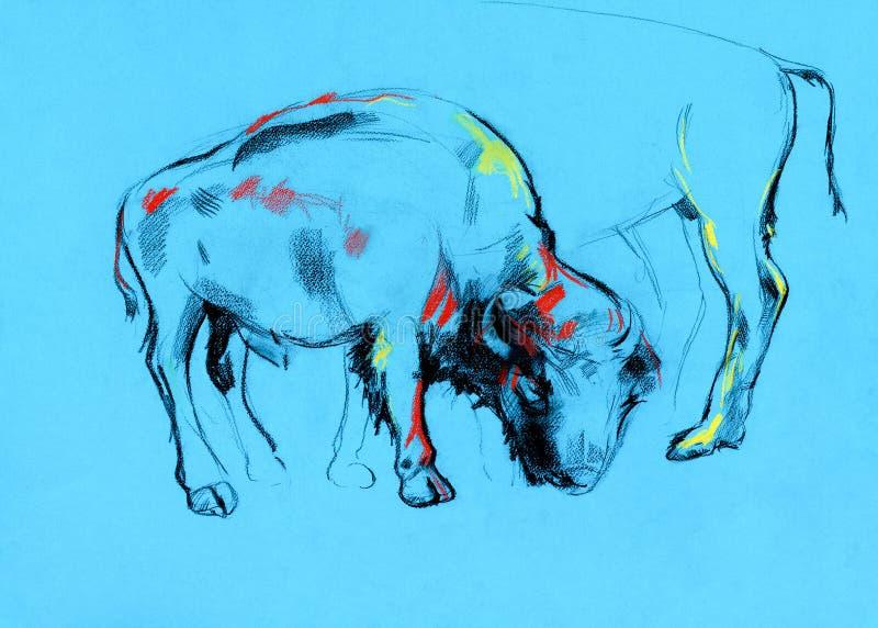 Het schilderen van buffels royalty-vrije illustratie