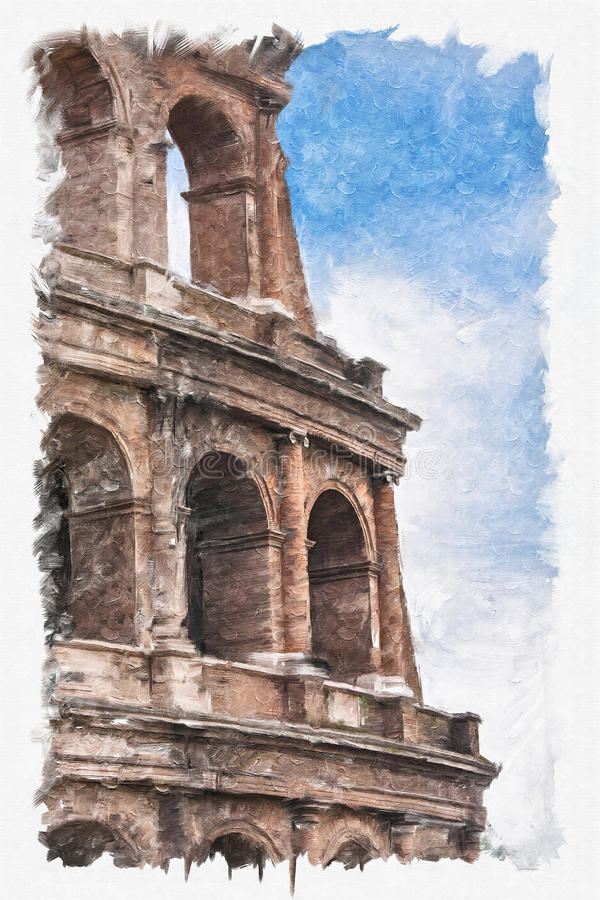 Het schilderen van coliseum royalty-vrije illustratie
