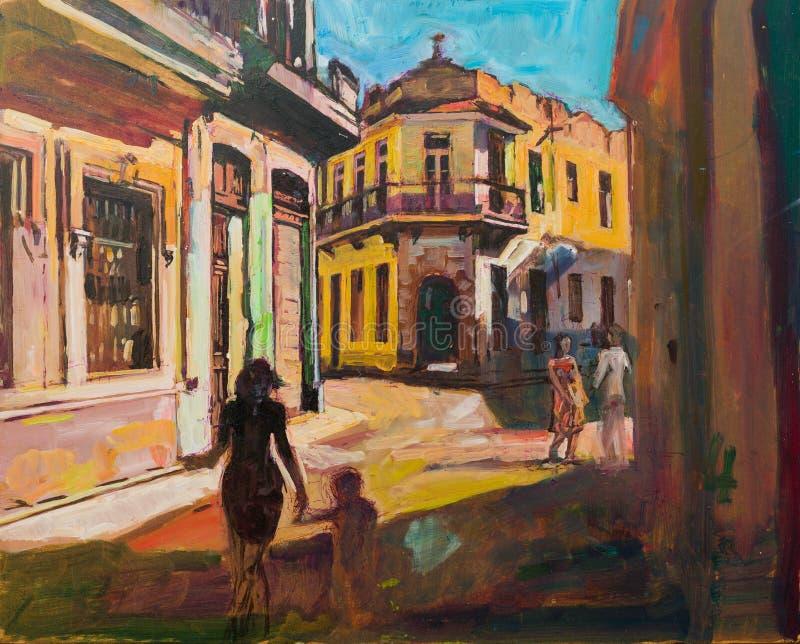 Het schilderen van Cuba Havana royalty-vrije stock afbeeldingen
