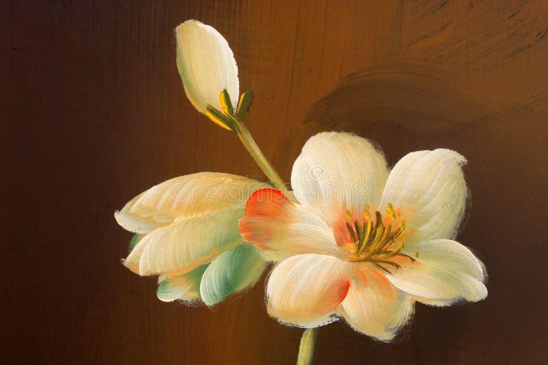 Het schilderen van de bloem op hout royalty-vrije stock foto's
