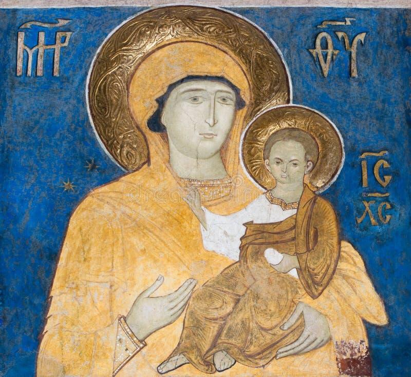 Het schilderen van de fresko van Arbore Kerk, Roemenië stock afbeeldingen