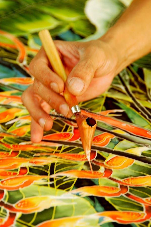 Het Schilderen van de hand Batik stock afbeelding