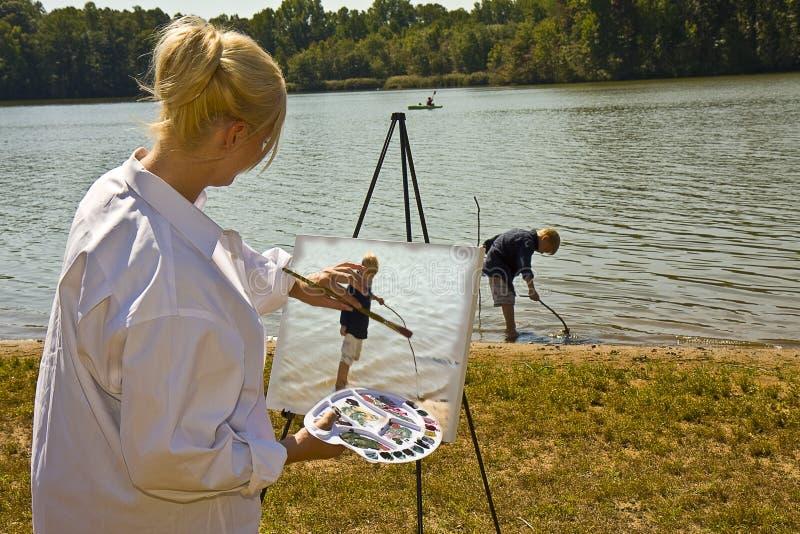 Het Schilderen van de kunstenaar royalty-vrije stock afbeelding
