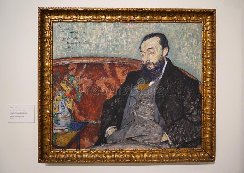 Het schilderen van de Mens bij het Museum stock afbeelding