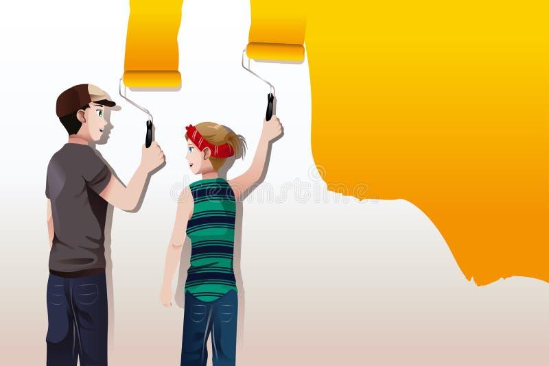 Het schilderen van de muur royalty-vrije illustratie