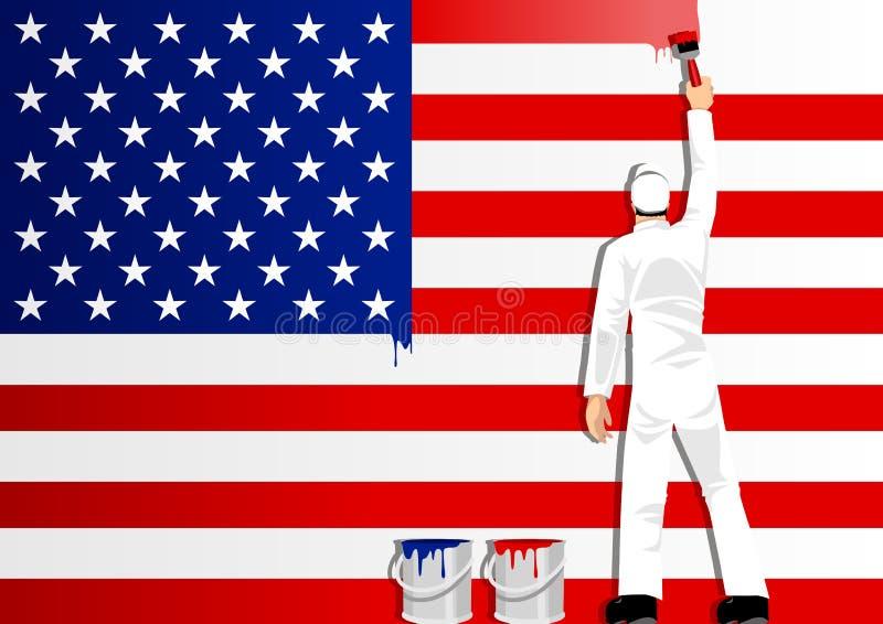 Het schilderen van de Vlag van de V.S. vector illustratie