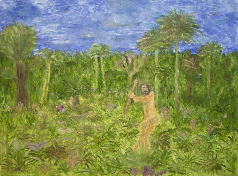 Het schilderen van de voorhistorische mens vector illustratie