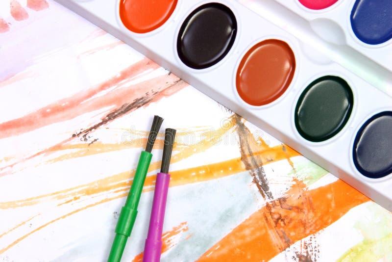 Het schilderen van de waterverf stock fotografie