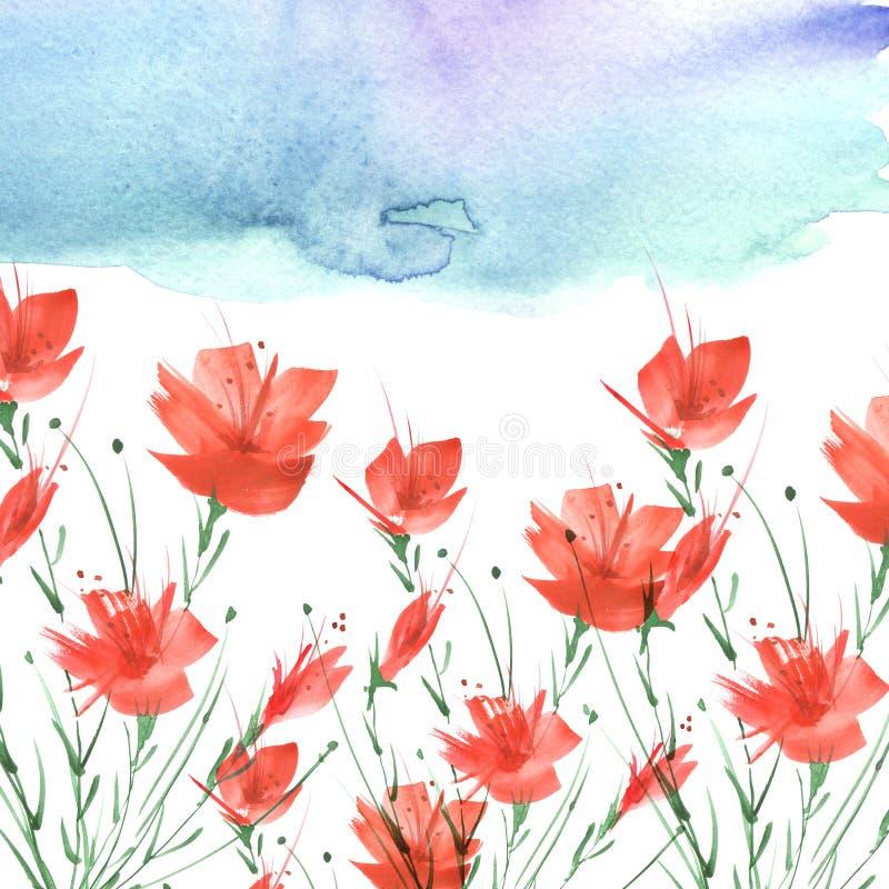 Het Schilderen van de waterverf Een boeket van bloemen van rode papavers, wildflowers op een wit ge?soleerde achtergrond stock afbeelding