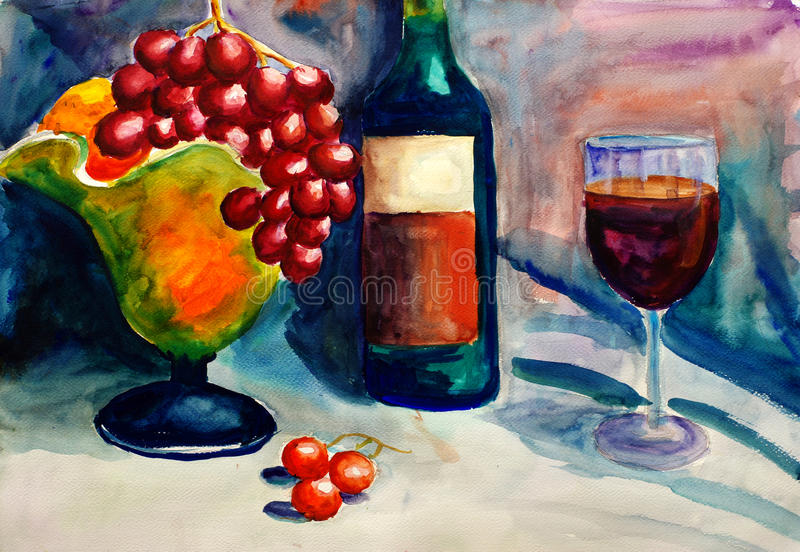 Het Schilderen van de waterverf - Fruit en Wijn stock illustratie
