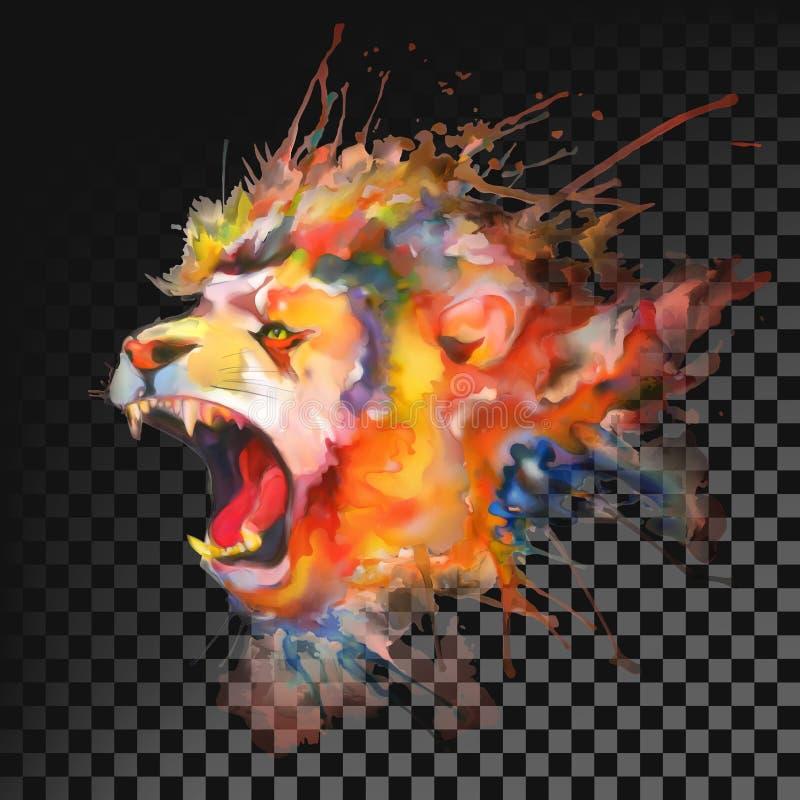 Het Schilderen van de waterverf Leeuw Transparant op donkere achtergrond stock illustratie