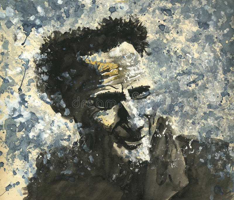 Het schilderen van de waterverf van een glimlachende mens vector illustratie
