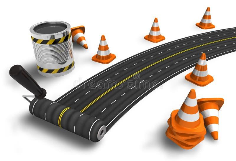 Het schilderen van de weg met rolborstel royalty-vrije illustratie