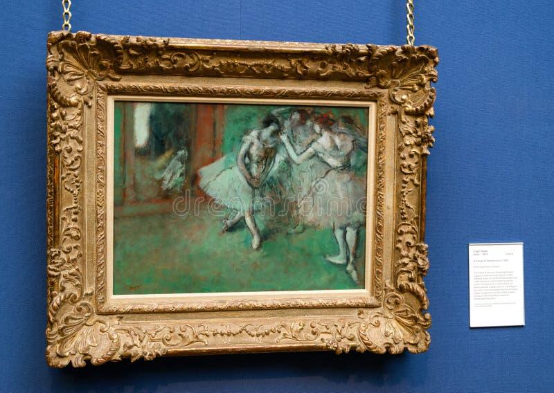 Het schilderen van Edgar Degas in Schotse nationale galerij in Edinbur stock afbeeldingen
