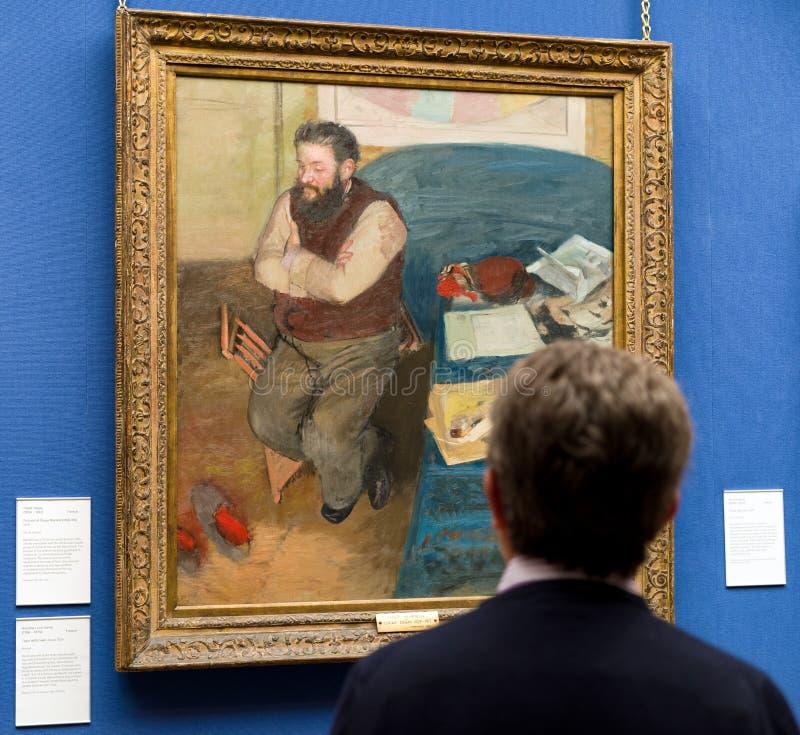Het schilderen van Edgar Degas in Schotse nationale galerij in Edinburg stock afbeeldingen