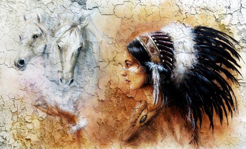 Het schilderen van een jonge Indische vrouw die een schitterend veerhoofddeksel, met een beeld van twee het witte paardgeesten ha stock illustratie
