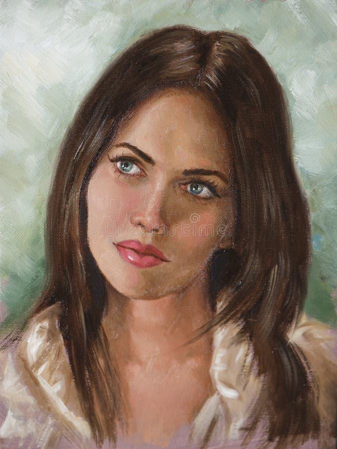 Het schilderen van een jonge vrouw stock illustratie