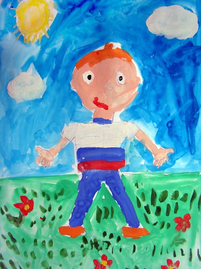 Het schilderen van een jongen - door kind wordt gemaakt dat royalty-vrije illustratie