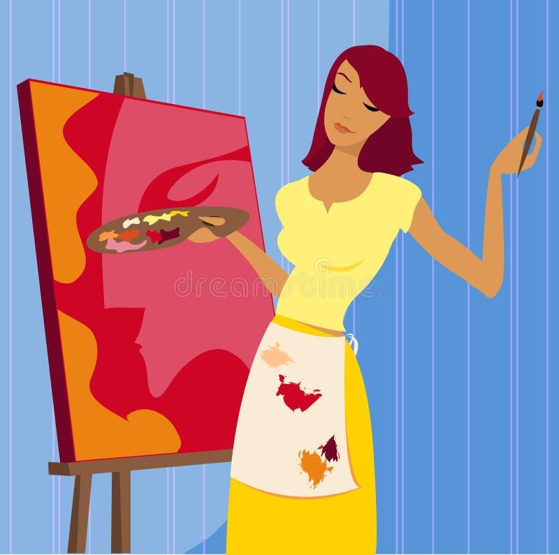 Het schilderen van een Portret stock illustratie