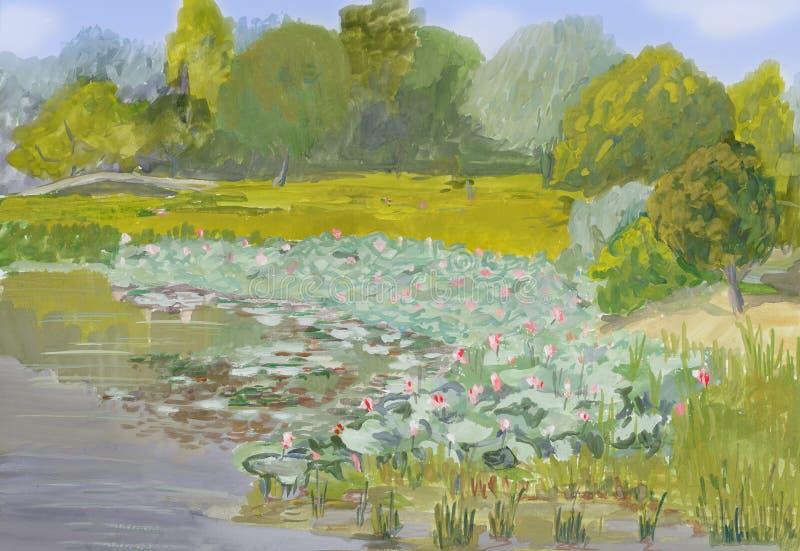 Het schilderen van gouache op papier - Blossoming lotusen in de delta royalty-vrije stock afbeeldingen