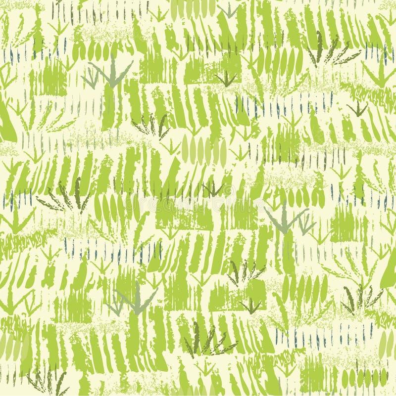 Het schilderen van groen gras naadloos patroon stock illustratie
