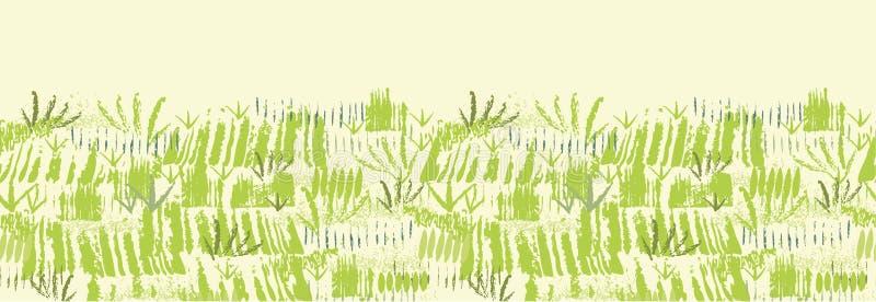 Het schilderen van groene gras horizontale naadloos royalty-vrije illustratie