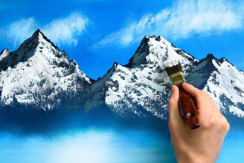 Het schilderen van het landschap wordt gecre?ërd royalty-vrije stock foto's
