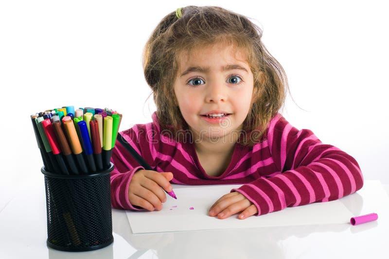 Het schilderen van het meisje stock afbeelding