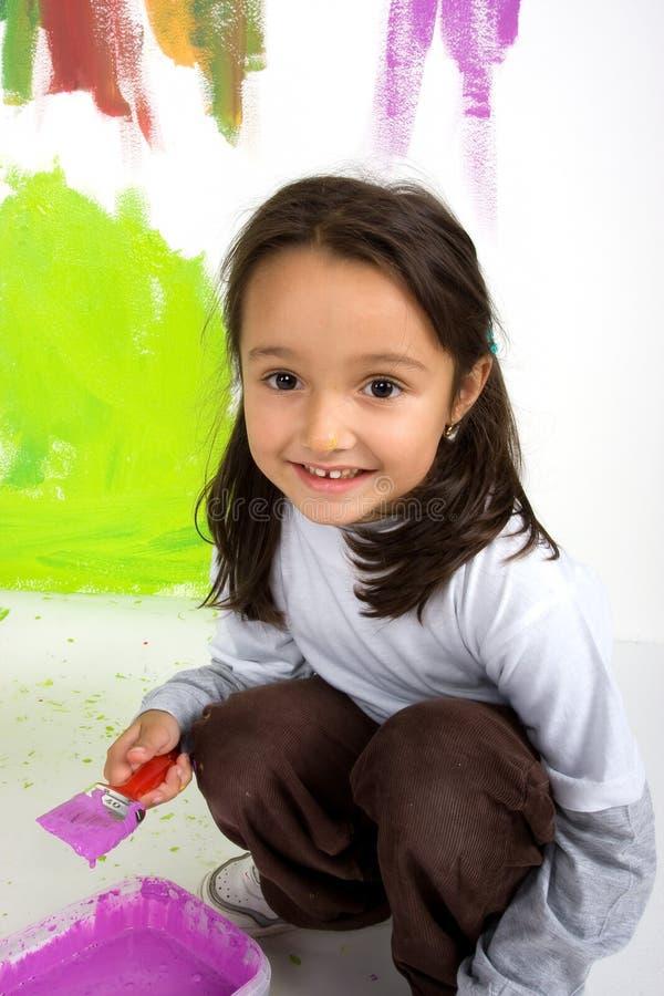 Het schilderen van het meisje royalty-vrije stock afbeeldingen