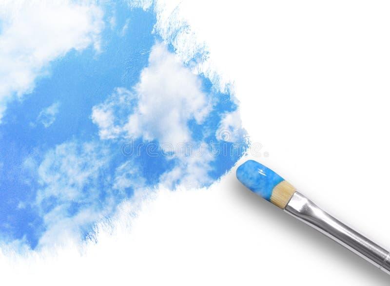 Het Schilderen van het penseel Wolken in Hemel royalty-vrije stock foto