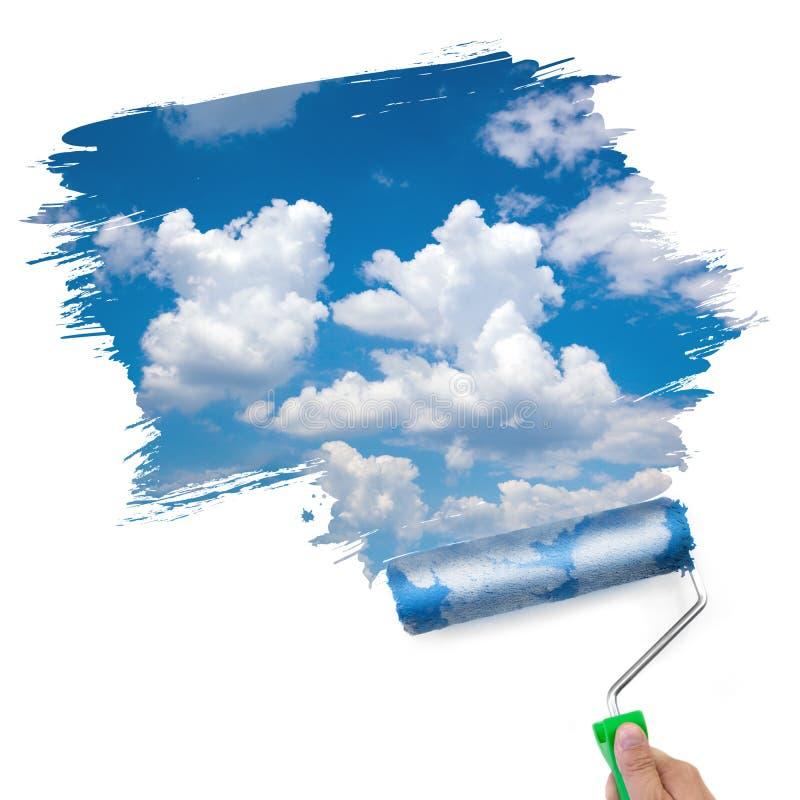 Het schilderen van het schone hemel/ecologieconcept stock foto