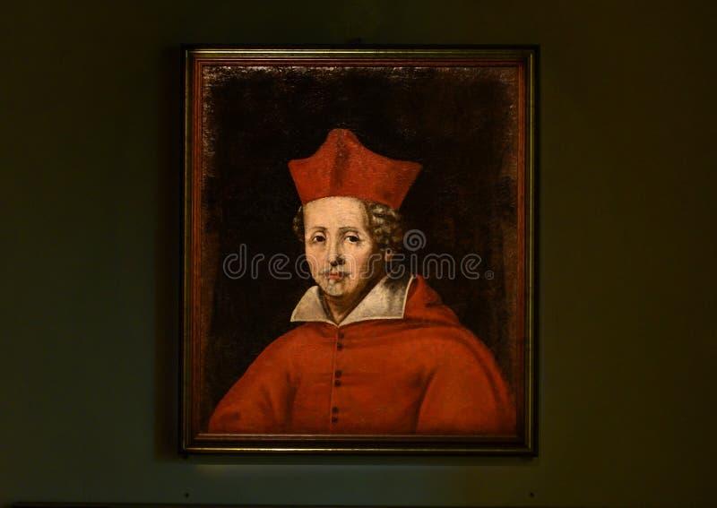 Het schilderen van Hoofdfederico borromeo door een anonieme kunstenaar in Pinacota Ambrosiana, Ambrosian-kunstgalerie in Milaan,  stock foto's