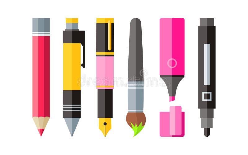 Het schilderen van Hulpmiddelen Pen Pencil en Tellers Vlak Ontwerp stock illustratie