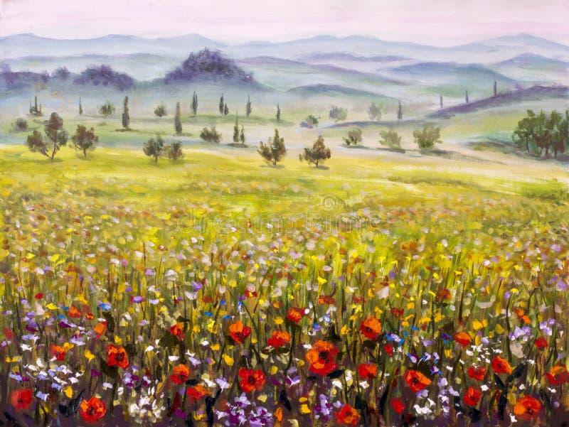 Het schilderen van Italiaans de cipressenlandschap van Toscanië met bergen, het Kunstwerk van het bloemengebied op canvas royalty-vrije stock afbeelding