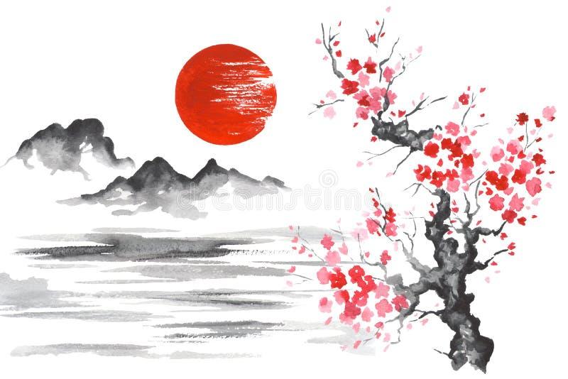 Het schilderen van Japan de Traditionele Japanse sumi-E Berg Sakura Lake van de kunstzon royalty-vrije illustratie