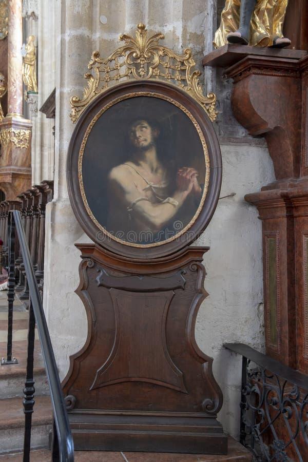 Het schilderen van Joseph, echtgenoot van Heilige Maagdelijke Mary, Binnenlandse Piarist-Kerk, Krems op de Donau, Oostenrijk stock afbeeldingen