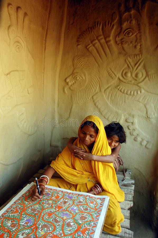 Het schilderen van Madhubani in bihar-India royalty-vrije stock afbeelding