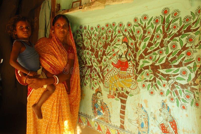 Het schilderen van Madhubani in bihar-India royalty-vrije stock fotografie