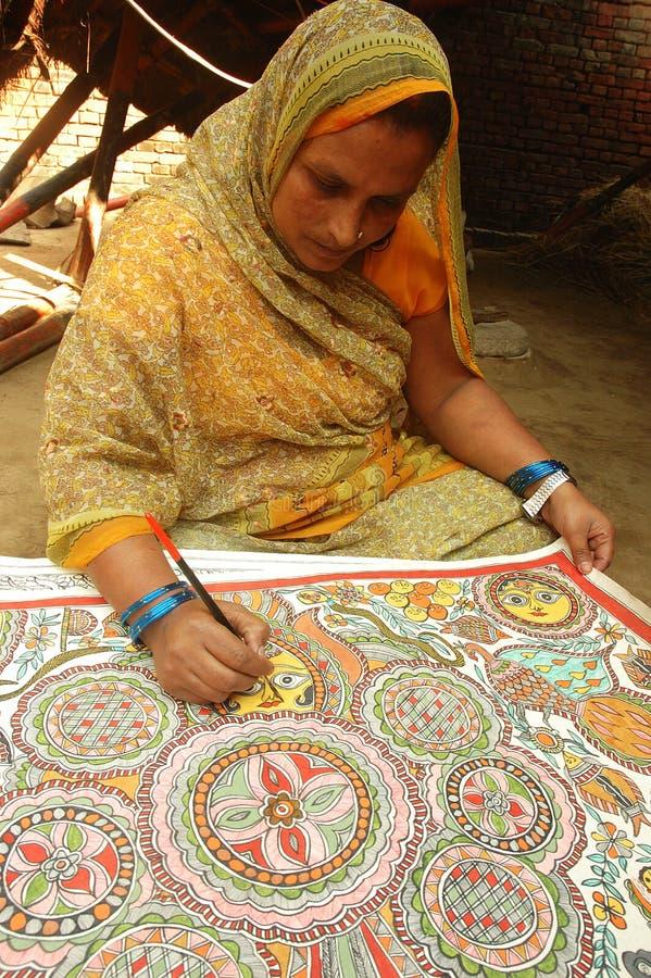 Het Schilderen van Madhuboni in bihar-India royalty-vrije stock foto