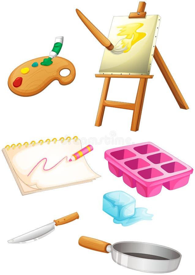 Het schilderen van materialen met een mes en een pan stock illustratie