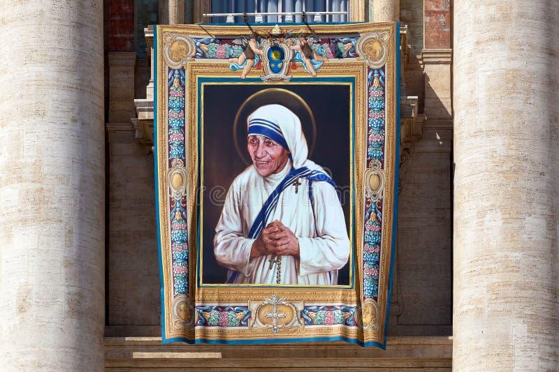 Het schilderen van Moeder Teresa van Calcutta stock fotografie