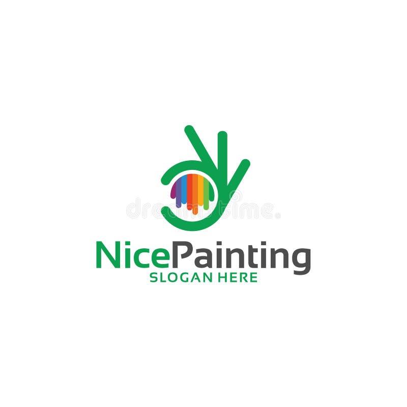 Het Schilderen van Nice het malplaatje vectorillustratie van Embleemontwerpen royalty-vrije illustratie
