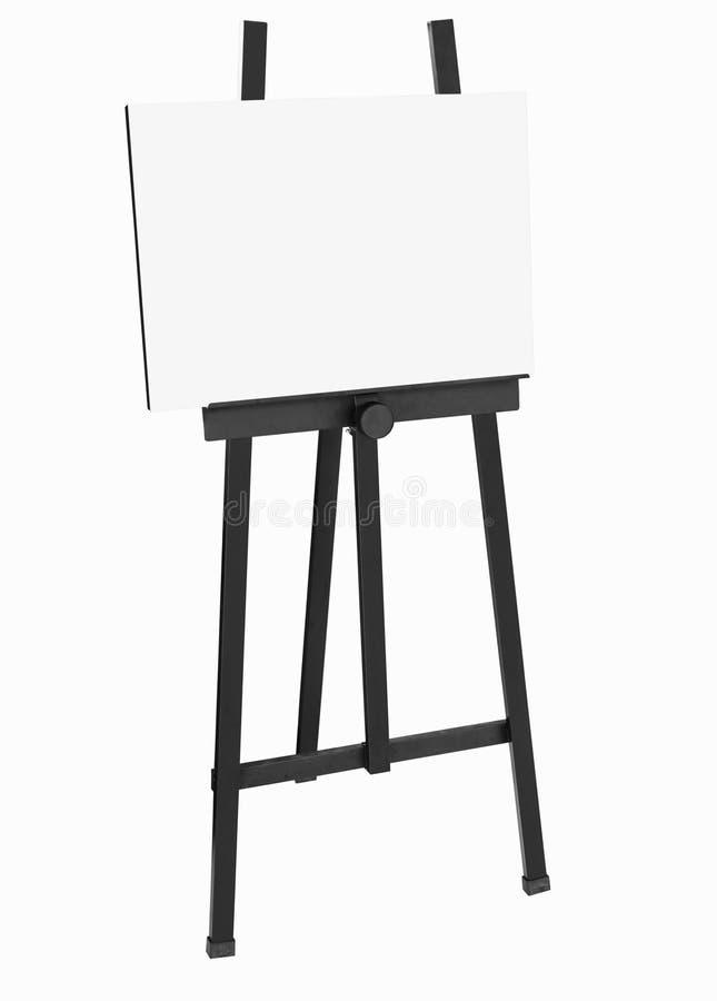 Het schilderen van tribune Zwarte schildersezel met leeg canvas royalty-vrije stock foto's