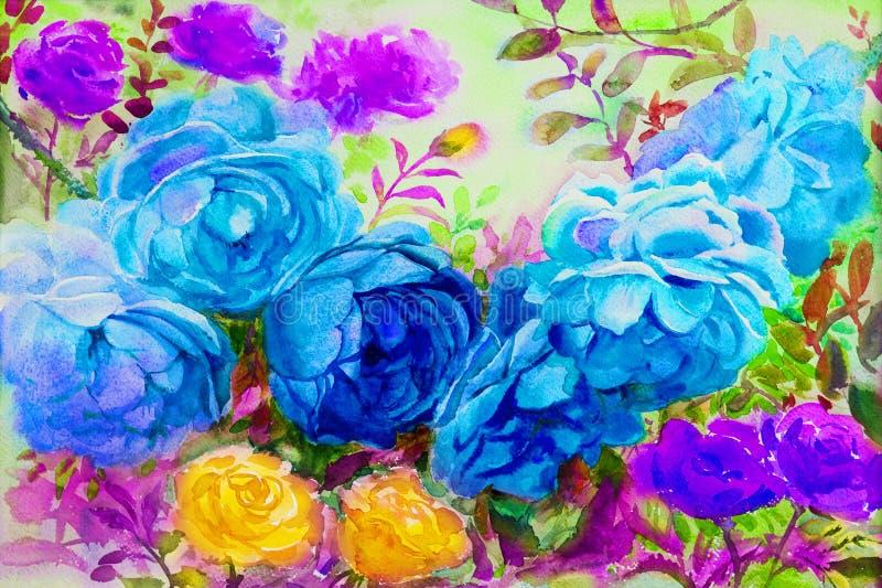 Het schilderen van waterverf bloeit landschap kleurrijk van rozen stock illustratie