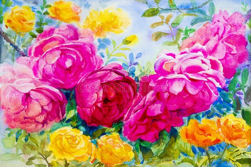 Het schilderen van waterverf bloeit landschaps roze gele kleur van rozen royalty-vrije illustratie