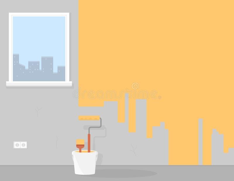 Het schilderen of verbeteringshuisruimte of flatachtergrond vector illustratie